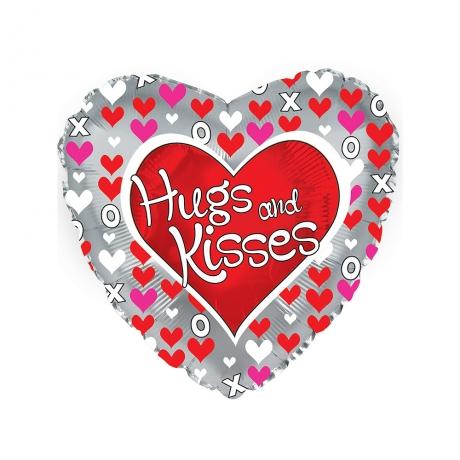 Hugs and Kisses Helium Balloon Heart Shaped
