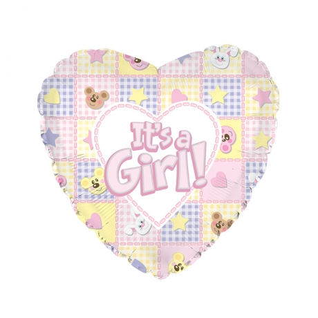Its a Girl! Pink Heart Shaped Helium Balloon