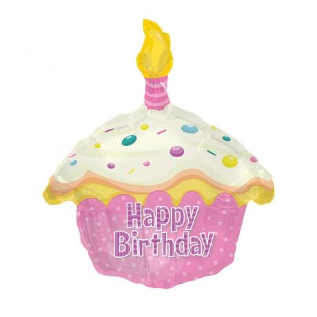 Happy Birthday Cake Pink Helium Balloon