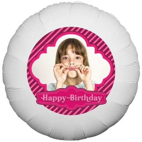 PRODUCT BALLOONS Stripey Happy Birthday Photo Balloon image