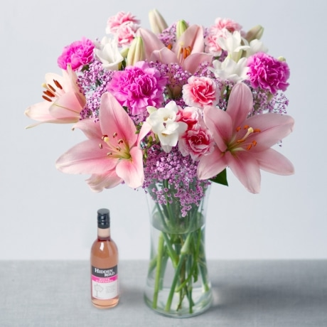 PRODUCT FLOWERS Flowers and Wine Gift image