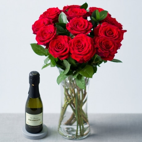 PRODUCT FLOWERS Red Roses and Prosecco image